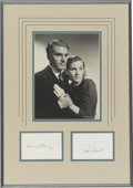 Movie/TV Memorabilia:Autographs and Signed Items, Laurence Olivier and Joan Fontaine Autographs with Photo....
