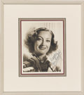 Movie/TV Memorabilia:Autographs and Signed Items, Joan Crawford Signed Photo....
