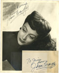 Movie/TV Memorabilia:Autographs and Signed Items, Joan Crawford Signed Photo and Notecard.... (Total: 2 Items)