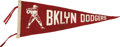Baseball Collectibles:Others, Vintage Brooklyn Dodgers Pennant....