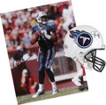 """Football Collectibles:Others, Vince Young Signed Mini Helmet and 11"""" x 14"""" Photograph.... (Total: 2 items)"""