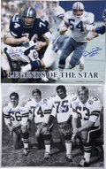 Football Collectibles:Photos, Vintage Dallas Cowboys Signed Oversized Photographs Lot of 2....(Total: 2 items)