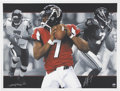 Football Collectibles:Balls, Michael Vick Signed Lithographs Lot of 5.... (Total: 5 items)