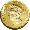 Three Dollar Gold Pieces, 1868 $3 MS63 NGC....