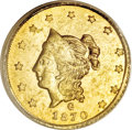 California Fractional Gold, 1870 $1 Liberty Round 1 Dollar, BG-1203, Low R.5, MS62 PCGS....