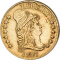 Early Half Eagles, 1807 $5 Bust Right AU55 NGC....