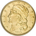 Early Half Eagles, 1834 $5 Capped Head, Crosslet 4 XF40 PCGS....