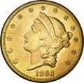 Liberty Double Eagles, 1863 $20 --Improperly Cleaned--NCS. AU Details....
