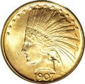 Indian Eagles, 1907 $10 No Periods MS63 PCGS....