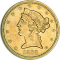 Liberty Half Eagles, 1866-S $5 No Motto AU55 NGC....