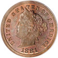 Patterns, 1881 3C Liberty Head Three Cents, Judd-1669, Pollock-1870, R.7,PR64 Red and Brown PCGS....