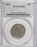 Seated Quarters, 1862 25C MS63 PCGS....