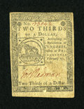 Colonial Notes:Continental Congress Issues, Continental Currency February 17, 1776 $2/3 Very Fine....