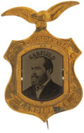 Political:Ferrotypes / Photo Badges (pre-1896), James A. Garfield: Stunning Oversized 1880 Ferrotype Pin....