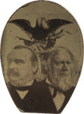 Political:Ferrotypes / Photo Badges (pre-1896), Cleveland & Thurman: Unset Jugate Ferrotype...
