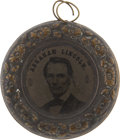 "Political:Ferrotypes / Photo Badges (pre-1896), Lincoln & Hamlin: Largest of Four Sizes of the ""Donut"" StyleFerrotype...."