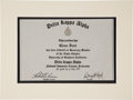 Movie/TV Memorabilia:Awards, Glenn Ford's Delta Kappa Alpha Certificate....