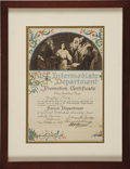 Movie/TV Memorabilia:Awards, Glenn Ford's Sunday School Promotion Certificate....