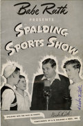 Baseball Collectibles:Programs, Babe Ruth Signed Spalding Sports Show Program....