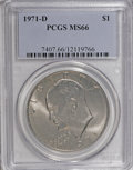 Eisenhower Dollars: , 1971-D $1 MS66 PCGS. PCGS Population (700/15). NGC Census: (522/37). Mintage: 68,587,424. Numismedia Wsl. Price for NGC/PCG...