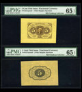 Fractional Currency:First Issue, Fr. 1231SP 5c First Issue Wide Margin Pair PMG Gem Uncirculated 65EPQ.... (Total: 2 notes)