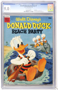Golden Age (1938-1955):Funny Animal, Dell Giant Comics - Donald Duck Beach Party #1 (Dell, 1954) CGCVF/NM 9.0 Off-white pages....