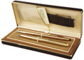 Movie/TV Memorabilia:Memorabilia, Glenn Ford's Gold-Plated Pen and Pencil Set.... (Total: 2 Items)