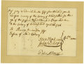 Autographs:Statesmen, Document Signed by Stephen Hopkins as Governor of the Colony ofRhode Island and Jonathan Nichols as Deputy Governor. ...