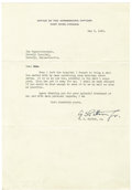 Autographs:Military Figures, George S. Patton Typed Letter Signed....