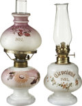 Political:3D & Other Display (pre-1896), Cleveland and Harrison: Two Rare 1892-Dated Kerosene Lamps....(Total: 2 Items)