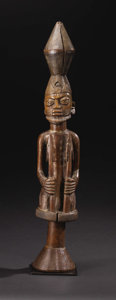 African: , Yoruba (Nigeria). Dance Staff, Crowned Male Figure. Wood, traces ofpigment. Height: 27 ¼ inches Width: 4 ¾ inches Depth: ...