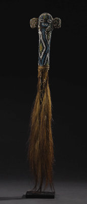 Bamileke(?) (Cameroon) Two Prestige Flywhisks 1)Elephant-Mask Handle Wood, animal tail, fiber, trade beads Height: 23 in...