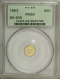 California Fractional Gold: , 1853 50C Liberty Round 50 Cents, BG-409, R.3, MS62 PCGS. PCGSPopulation (34/26). NGC Census: (7/4). (#10445)...