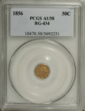 California Fractional Gold: , 1856 50C Liberty Round 50 Cents, BG-434, Low R.4, AU58 PCGS. PCGSPopulation (21/74). NGC Census: (0/5). (#10470)...