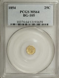 California Fractional Gold: , 1854 25C Liberty Octagonal 25 Cents, BG-105, R.3, MS64 PCGS. PCGSPopulation (62/24). NGC Census: (16/10). (#10374)...