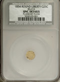 California Fractional Gold: , 1854 25C Liberty Round 25 Cents, BG-216, R.6--Planchet Flaw--UncDetails NCS. PCGS Population (0/17). ...