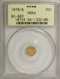California Fractional Gold: , 1878/6 25C Indian Round 25 Cents, BG-883, High R.4, MS64 PCGS. PCGSPopulation (25/2). NGC Census: (0/2). (#10744)...