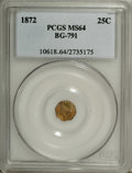 California Fractional Gold: , 1872 25C Indian Octagonal 25 Cents, BG-791, R.3, MS64 PCGS. PCGSPopulation (94/17). NGC Census: (7/12). (#10618)...