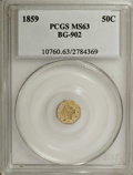 California Fractional Gold: , 1859 50C Liberty Octagonal 50 Cents, BG-902, Low R.4, MS63 PCGS.PCGS Population (27/33). NGC Census: (1/9). (#10760)...
