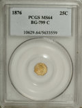 California Fractional Gold: , 1876 25C Indian Octagonal 25 Cents, BG-799C, High R.4, MS64 PCGS.PCGS Population (23/14). NGC Census: (0/1). (#10629)...