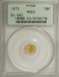 California Fractional Gold: , 1873 50C Indian Octagonal 50 Cents, BG-942, Low R.5, MS63 PCGS.PCGS Population (16/11). (#10800)...