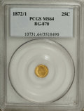 California Fractional Gold: , 1872/1 25C Indian Round 25 Cents, BG-870, R.3, MS64 PCGS. PCGSPopulation (69/14). NGC Census: (8/6). (#10731)...