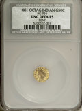 California Fractional Gold: , 1881 50C Indian Octagonal 50 Cents, BG-956, High R.4,--Bent--NCS.UNC Details. NGC Census: (0/2). PCGS Population (2/48). ...