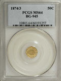 California Fractional Gold: , 1874/3 50C Indian Octagonal 50 Cents, BG-945, High R.4, MS64 PCGS.PCGS Population (13/1). NGC Census: (0/4). (#10803)...