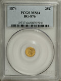 California Fractional Gold: , 1874 25C Indian Round 25 Cents, BG-876, Low R.4, MS64 PCGS. PCGSPopulation (38/12). NGC Census: (4/10). (#10737)...