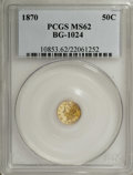 California Fractional Gold: , 1870 50C Liberty Round 50 Cents, BG-1024, Low R.4, MS62 PCGS. PCGSPopulation (36/20). NGC Census: (4/10). (#10853)...