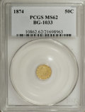 California Fractional Gold: , 1874 50C Liberty Round 50 Cents, BG-1033, R.5, MS62 PCGS. PCGSPopulation (8/7). (#10862)...