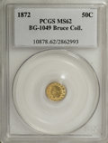 California Fractional Gold: , 1872 50C Indian Round 50 Cents, BG-1049, R.4, MS62 PCGS. Ex: BruceCollection. PCGS Population (14/52). NGC Census: (0/4). ...