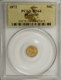 California Fractional Gold: , 1872 50C Indian Round 50 Cents, BG-1049, R.4, MS64 PCGS. PCGSPopulation (20/4). NGC Census: (2/2). (#10878)...