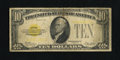 Small Size:Gold Certificates, Fr. 2400 $10 1928 Gold Certificate. Very Good.. This $10 Gold probably survived because it was paper clipped to a document a...